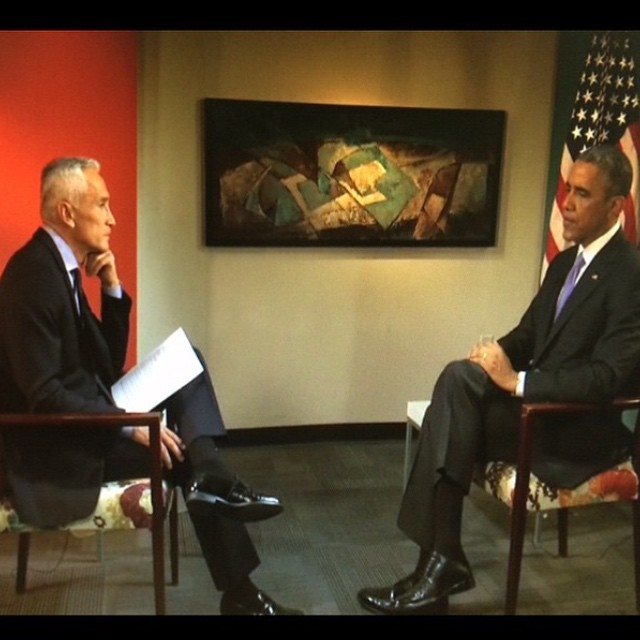 With Barack Obama in Nashville. The interview on Fusion 10 pm