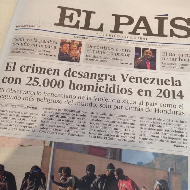 Crimen desangra a Venezuela. La portada de hoy en El País. ¿Será 2015 el año del cambio en Venezuela?